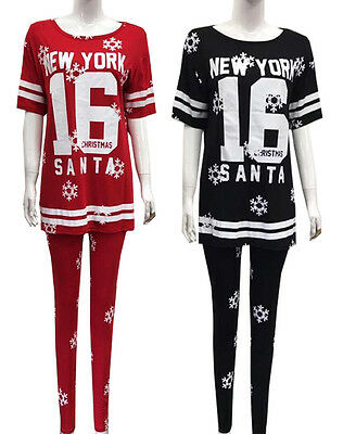 Ladies Christmas Newyork 16 Santa 2Pc Loungewear Tracksuit Women Jogger Set