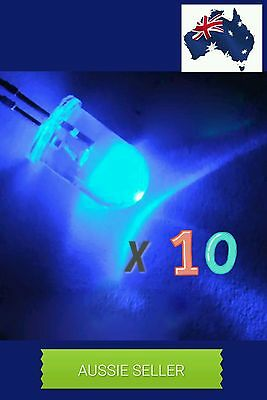 10 Pcs 5mm Dia Clear Round Head Blue Light Emitting Diodes LED. DIY. AUS STOCK