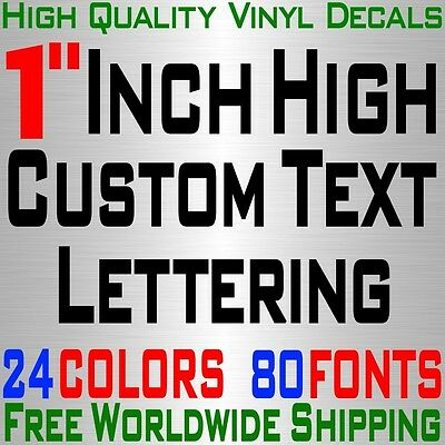 """Personalized 1"""" Custom Text Name Vinyl Decal Sticker Car Wall 16x Lettering max"""