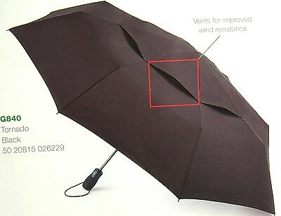"Fulton - ""tornado"" Black Extreme Wind Strength Auto Open Folding Umbrella-Nwt"