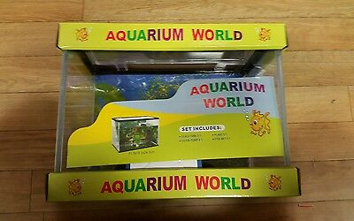 Fish Tank Set Kit  Aquarium  World  with Filter  pump, plants, fish net, gravel