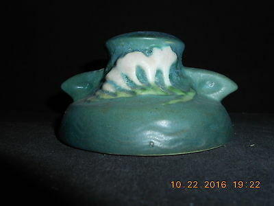 """Vintage Roseville Pottery Green Candlestick Purple Freesia 1160-2"""" USA 1945 NR"""