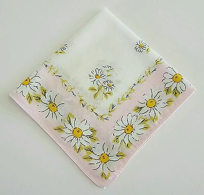 Ladies Handkerchief Pink with White Daisies Floral Cotton Hankie
