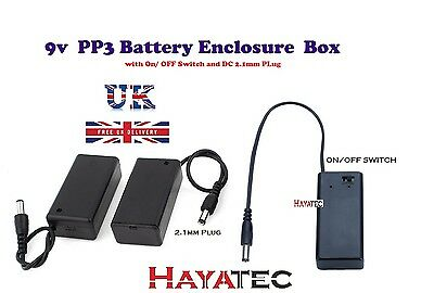 9V PP3 Battery Clip Project Box Enclosure Holder ON/OFF Switch with DC Plug UK