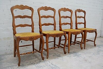 4 x French decorative oak Louis style high back dining chairs with rush seat