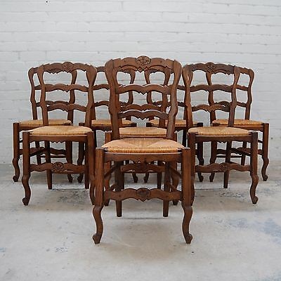 8 x French Louis style decorative rush seated dining chairs with rush seat