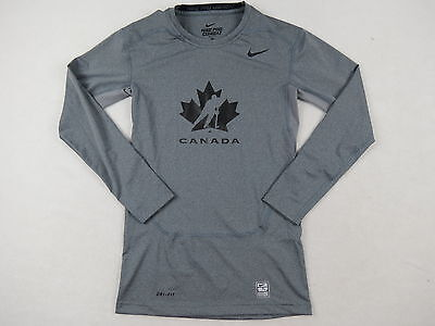 New Nike Player Issued Team Canada Mens Hockey Pro Stock L/S Compression Shirt M