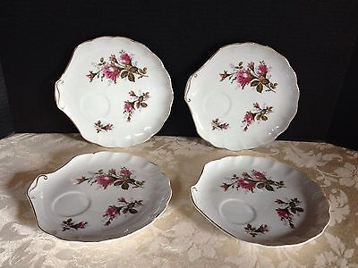 4 Vintage NAPCO China Hand-Painted PINK ROSE PATTERN Sandwich Plates