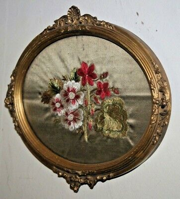 Antique Ornate Gold Gilt Plaster French Oval Photo/ Picture Frame Embroidery Old