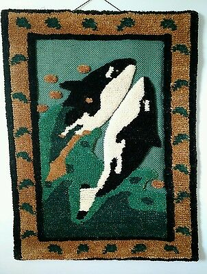 Killer Whale Orca Wall Art Vtg Handloomed Jute Tom Taylor Blackfish c1990 Large!