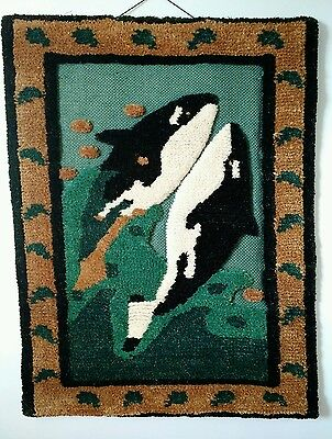 Vtg Textile Art Killer Whale Orca Handloomed Jute Tom Taylor Blackfish c1990