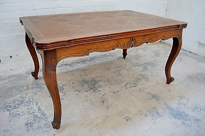 6 Seater Antique parquetry french oak dining table with carving