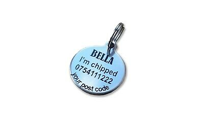 Cat Dog Pet ID Tag Stainless Steel Both Side Laser engraved