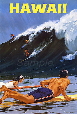 Vintage Hawaii Surfing Travel A4 Poster Print