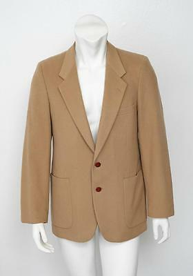 YVES SAINT LAURENT Mens VINTAGE Tan Two-Button Wool Blazer Jacket Coat 40