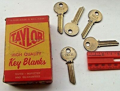5 Vintage Original  YALE  Key Blanks   One side - BLANK - Good for stamping...