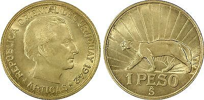 1942-So URUGUAY Peso PCGS MS64 - Amongst finest known!