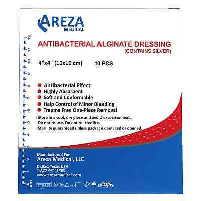 """Silver Alginate (Calcium Alg. with Ag) 4""""x4"""" Box of 10 (13% Off If   20 Boxes"""