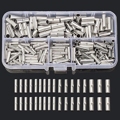 200Pcs Copper Butt Splice Connector 22-10AWG Tinned Crimp Terminal With Case Kit