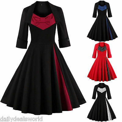 NEW Womens Retro Vintage Style 1950s Rockabilly Casual Party Swing Skaters Dress