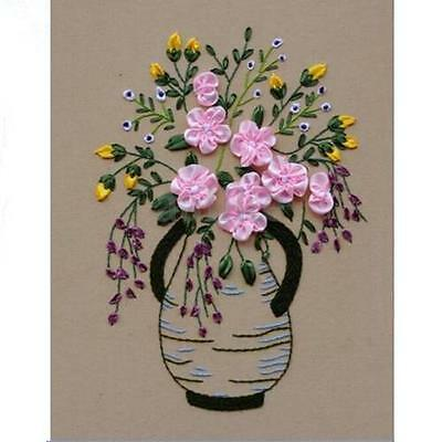Ribbon Embroidery Kit Vase Flowers Floral Needlework Craft Kit For Beginners