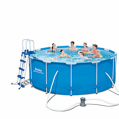 """12Ft Bestway Pro Steel Frame Swimming Pool With Filter Pump 40"""" Deep Pools New"""