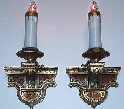 ANTIQUE CAST METAL WALL SCONCE LIGHT PAIR ORNATE VINTAGE 1920s CANDELABRA LAMPS