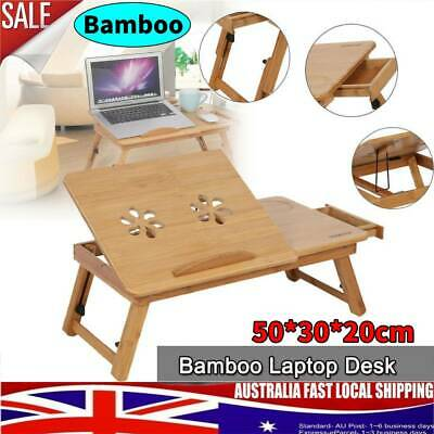 Foldable Adjustable Laptop Computer Stand Desk Table Tray On Bed Mouse Holder