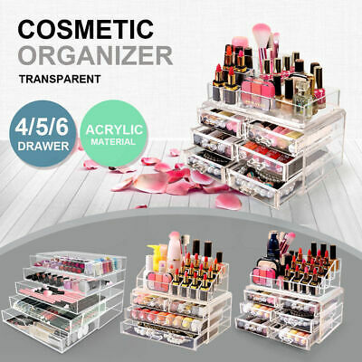 4/5/6  Drawers Cosmetic Jewellery Rack Makeup Organizer Box Case Holder Clear