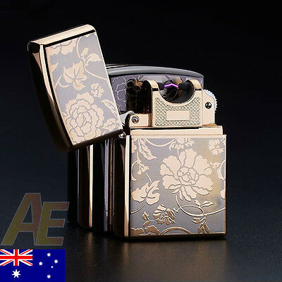Electric Lighter - USB Rechargeable, Windproof, Flameless, Double Arc, Gold.