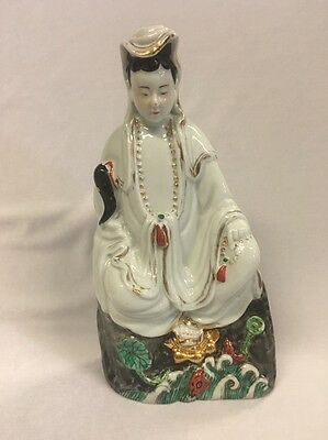 Antique 19th Century Porcelain Figure of a Seated Deity 23cm