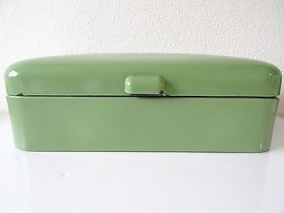 Vintage Enamel Enamelware Dutch Bread Box Large Breadbox Green