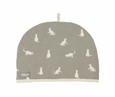 Dexam Happy Cats 2 Cup Small Tea Cosy Stone Grey Cosie Cozy Teapot Pot Cover New
