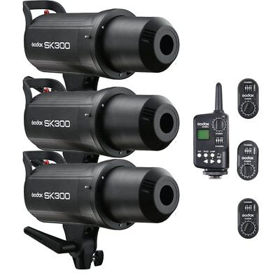 3X Godox SK300 Studio Flash Strobe Light + FT-16 Wireless Trigger & Receiver Kit