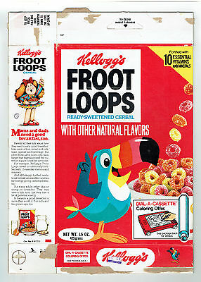 Froot Loops 15 oz Empty Cereal Box Toucan Sam Kellogg's 1979 Dial A Cassette