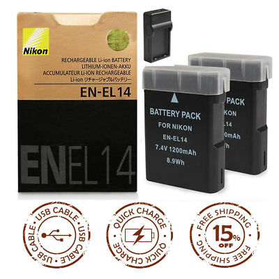 EN-EL14 Battery/Charger for Nikon D3100/D3200/D5100/D5200/D5300 P7000/P7100/7800