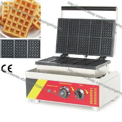 Commercial Nonstick Electric Mini Square Belgian Waffle Maker Baker Machine Iron