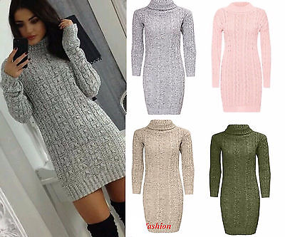 Women Ladies Long Sleeve Cowl Polo Neck Cable Knitted Jumper  Top 8-14