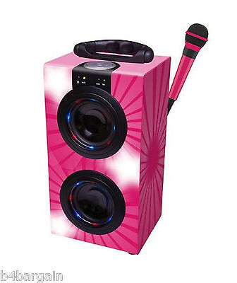 Portable Pink Karaoke Machine with Microphone & Lights Bluetooth Compatible