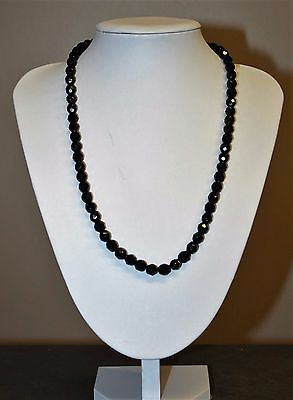 Victorian Black French Jet Glass Mourning Faceted Bead Necklace 22 Inches Long