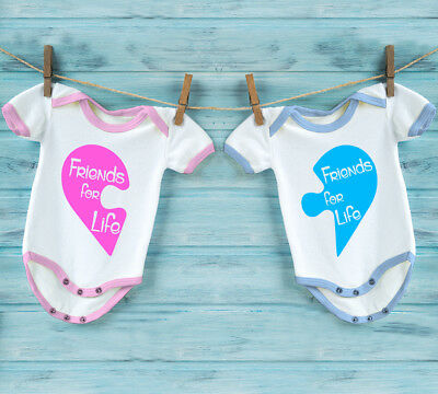 """Babygrow set for twins girl and boy with puzzle heart and text """"Friends for Life"""