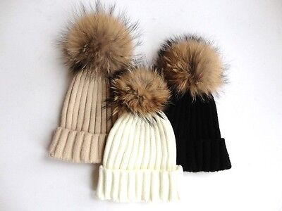 Luxury Bobble Beanie Hat, HUGE Removeable Racoon Fur Pom Pom, 3 Colours Avail
