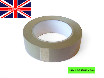 38mm x 50m Brown Self Adhesive Backing Tape Picture Framing Canvas Craft Kraft