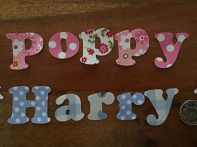 Any 10 Die Cut Iron On Fabric Letters/ Numbers Boys Girls Personalised Names ��