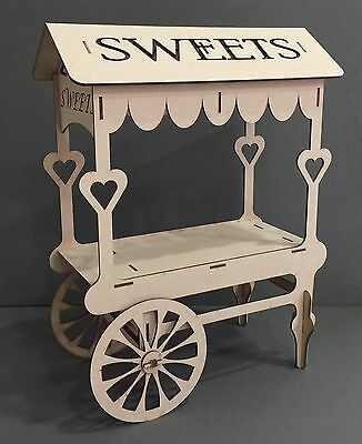 Y74 WEDDING DAY SWEET CANDY CART Trolley Party Unpainted MDF Table Display Stand
