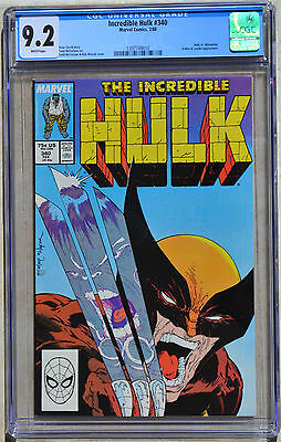 THE INCREDIBLE HULK #340 1988 CGC 9.2 (NM-) WHITE Pages 1st McFarlane Wolverine