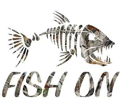Camouflage fish on skillet sticker camo print decal