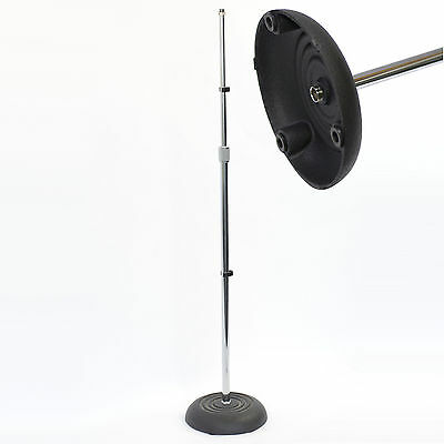Microphone Chrome Floor Stand. Good Quality Heavy Duty Cast Round Base - New