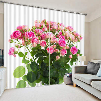 Rose Branch Pink 3D Customize Blockout Photo Curtains Print Home Window Decor