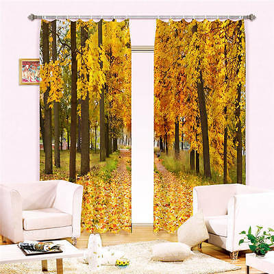 Gold Forest Autumn 3D Customize Blockout Photo Curtains Print Home Window Decor